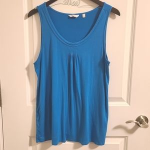 Blue tank top with ruching detail